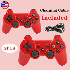 2PCS Wireless Bluetooth Video Game Controller Pad for PS3 Playstation 3 Red New