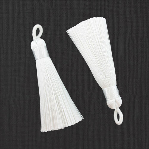 2 Tassels 60mm Snow White Polyester TSP029 Attached Loop