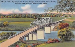 Tennessee-postcard-Newport-Morristown-US-Hwy-23-amp-Bridge-over-French-Broad-River