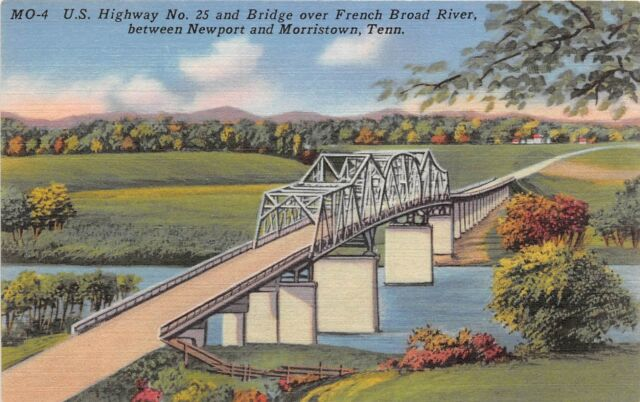 Tennessee postcard Newport Morristown US Hwy 23 & Bridge over French Broad River