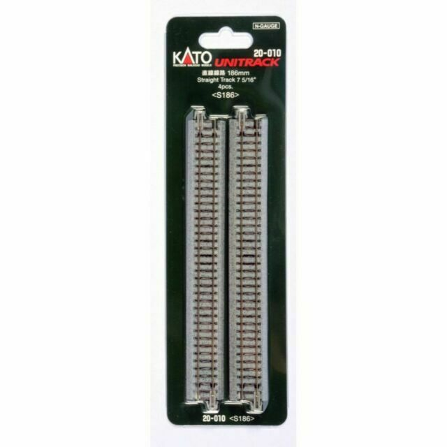 """Kato N Scale Unitrack 7 5//16/"""" 186mm Straight Track 4 per package"""