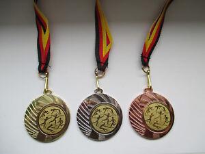 Medaillen Leichtathletik Kinder Medaillen Emblem mit Deutschland-Bändern Pokal Turnier