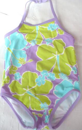 Circo Swimsuit Lavender Purple 1 PC Halter Top Floral Girls Swim Bathing Suit