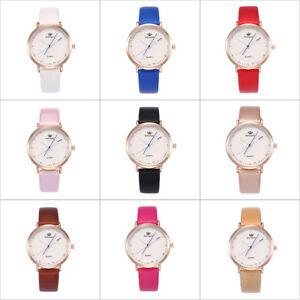 Damenmode-Armbanduhr-Lederband-Analog-Quarz-Runde-Glas-Spiegel-Uhren
