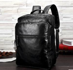 Details About Men S Leather Backpack Shoulder Business Briefcase Students Soild Computer Bags