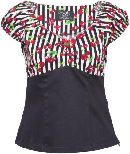 Küstenluder SHEILA Striped Streifen CHERRY Kirschen Retro Bluse SHIRT Rockabilly