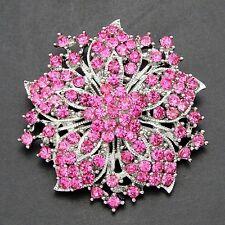 """2"""" VINTAGE LOOK STAR FLOWER PINK  DIAMANTE  CRYSTAL  WEDDING /PARTY BROOCH"""
