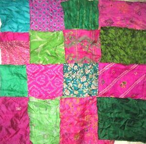 LOT-PURE-SILK-Antique-Vintage-Sari-Fabrics-REMNANT-20-pcs-5-inch-SQUARES-ABDBV