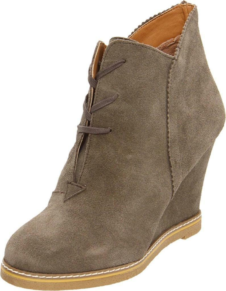 Kelsi Dagger Helix Bootie Taupe Ankle Boot Lace Wedge Suede Tie Brown Platform