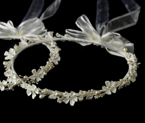 White or Ivory Flower /& Pearl Greek Orothodox Stefana Bridal Wedding Crowns