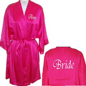 buy sale shop for original pretty cheap Details about Personalised Hot Pink Satin Robe / Dressing Gown His & Hers  Wedding Bride Groom