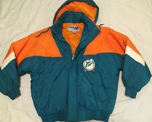 Vtg-Miami-Dolphins-Chalk-line-Full-Zip-Jacket-Mens-size-Large-90s-Removable-Hood