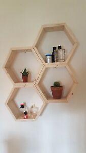 Hexagon Honeycomb Floating Shelves Shelf Wooden Home Decor Rustic Christmas Gift