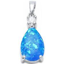 Pear Shape Blue Opal & Cz .925 Sterling Silver Pendant