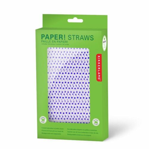 Kikkerland 144 Blue Polka Dot Paper Retro Drinking Straws Eco Product