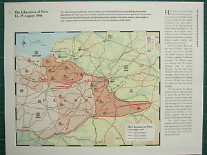 WW2 WWII MAP ~ THE LIBERATION OF PARIS 14-25 AUG 1944 FRONT LINES ...