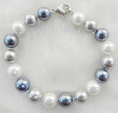 Femme 8 mm élégant blanc argent gris Shell Pearl Collier Bracelets Boucles d/'oreilles AAA