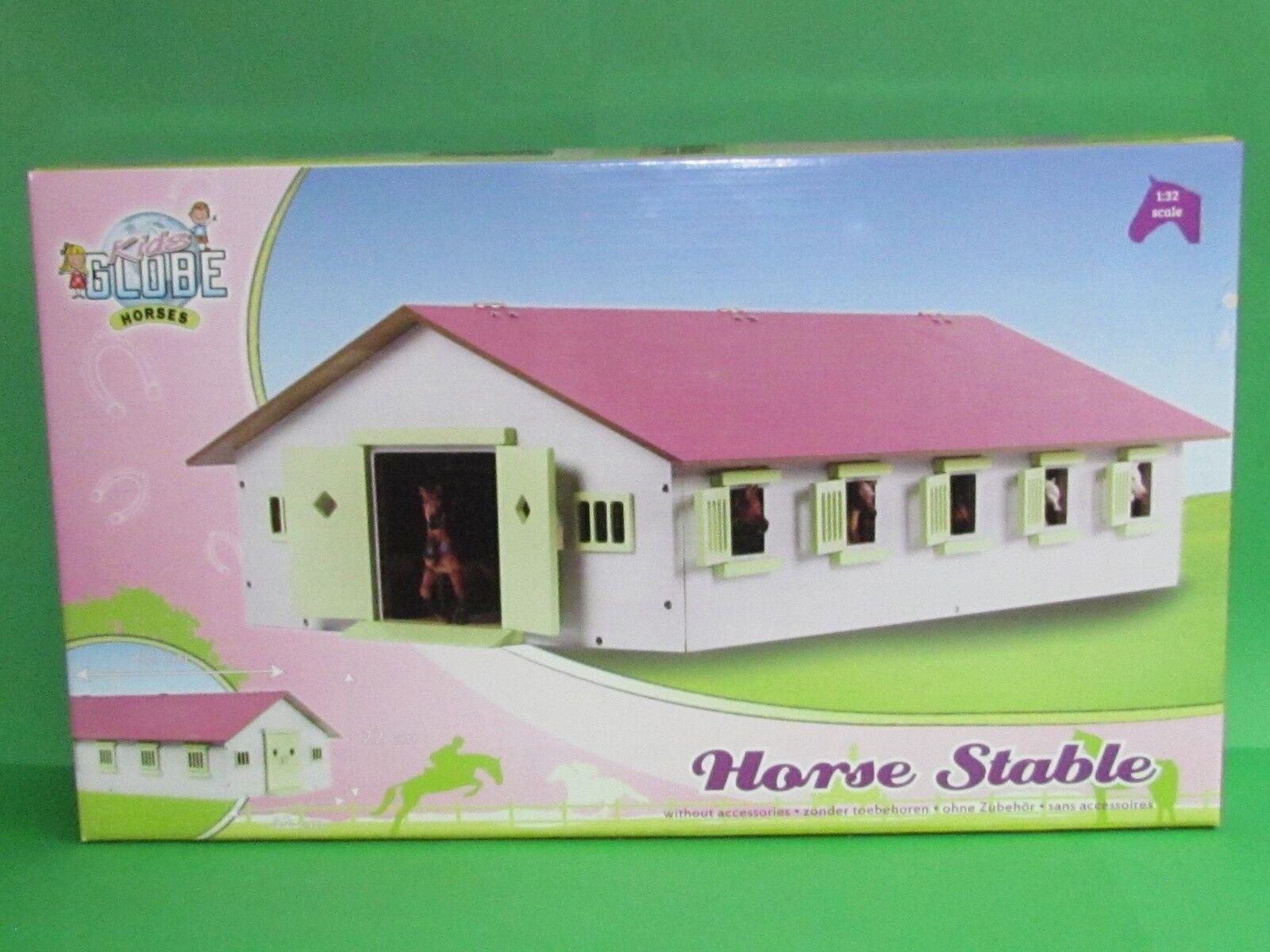 1 32 Kids Globe 610188 Pferdestall mit 9 Boxen Rosa Dach Blitzversand DHL-Paket