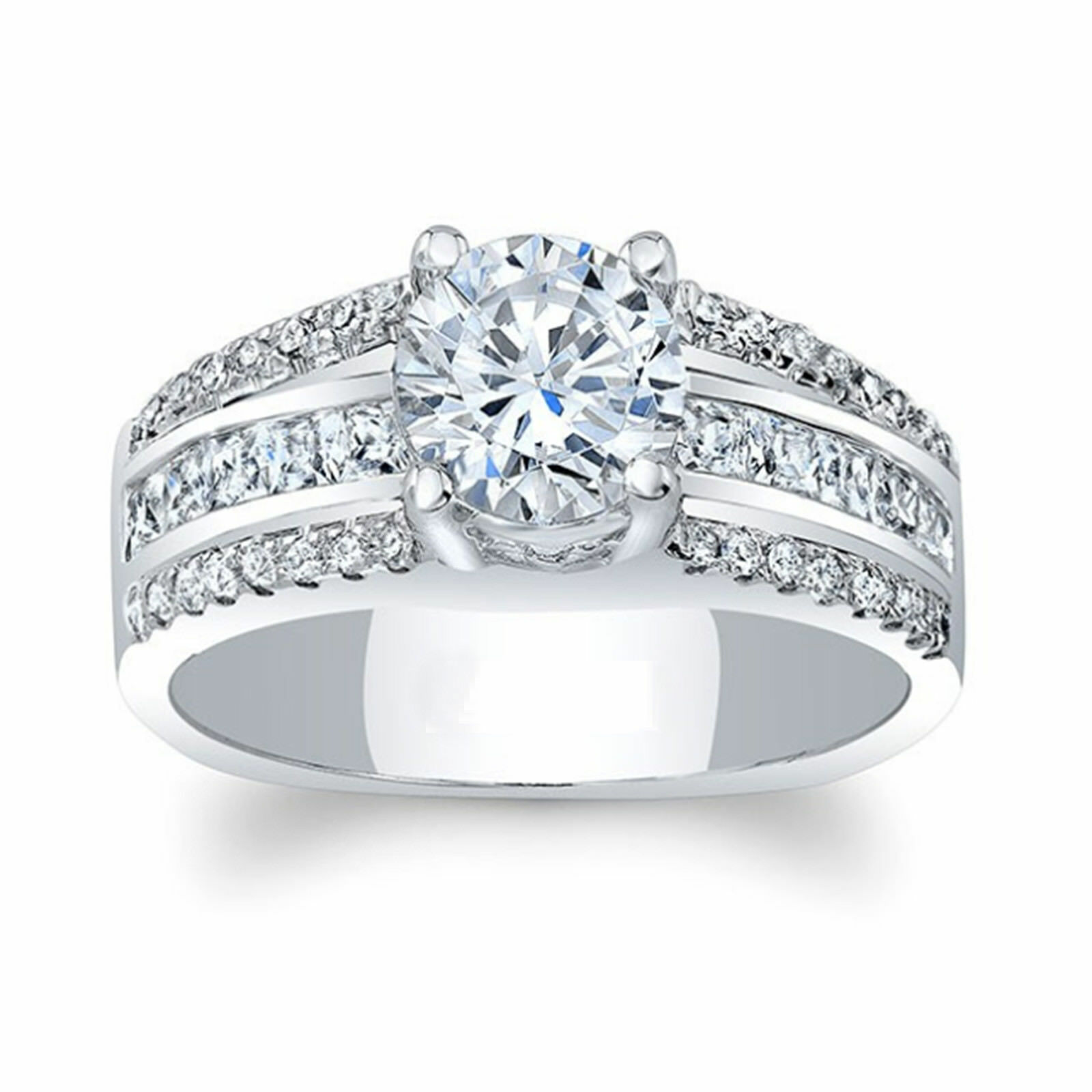 f562e3b2a5622 Accents with Solitaire Cut Round Ct 1.41 Diamond gold 7 6 5 Size ...