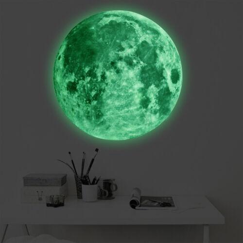 3D Wall Sticker Glow In The Dark Moon Luminous DIY Home Decor Decals Stickers