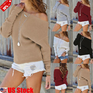 Womens-Off-the-Shoulder-Chunky-Knit-Jumper-Ladies-Oversized-Baggy-Sweater-Top-US