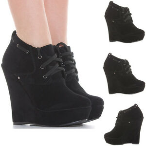 Beautiful Womens High Wedge Heel Ankle Boot Platform Zipper Black Party Shoes Bootsi