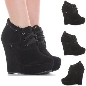 Ladies-Wedge-Shoes-Zip-Booties-Wedges-High-Heel-Platform-Short-Ankle-Boots-Size