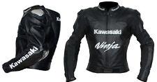 KAWASAKI Mens Cowhide Motorbike Leather Jacket Motorcycle Sports Leather Jacket