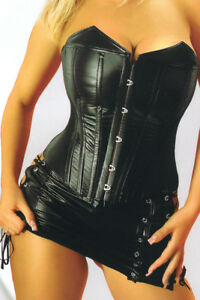 Faux-Leather-Corsage-Corset-Mini-Skirt-Gothic-Black-36-to-54-Laundry-Bags