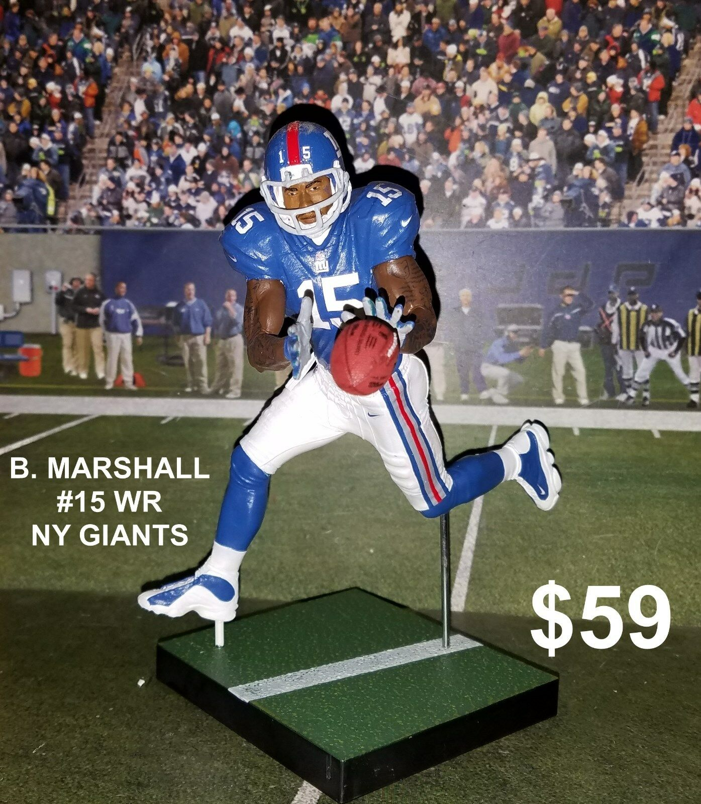 Custom B. Marshall  15 WR NY Giants Mcfarlane figure