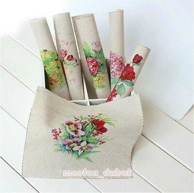 6pcs Watercolor Flower Digital Prints Cotton Linen Quilt Fabric Square Panel