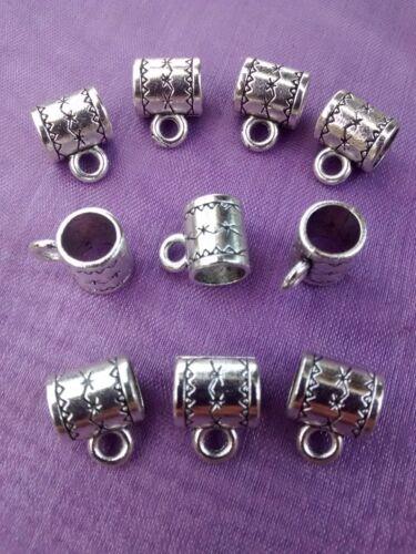 Bracelet Bail Spacer Beads 10 x Tibetan Silver STAR Pattern Hanger Pendant