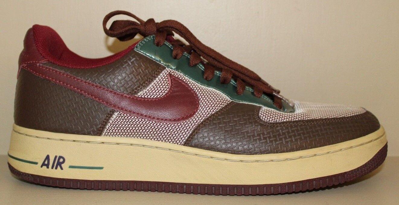 Nike Air Mens AF 1 Premium Samurai Edition Chocolate Red Sneaker Shoe Sz 11 / 45