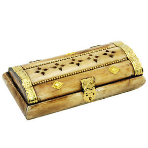Hand made vintage camel bone box with brass copper decorations from Jerusalem