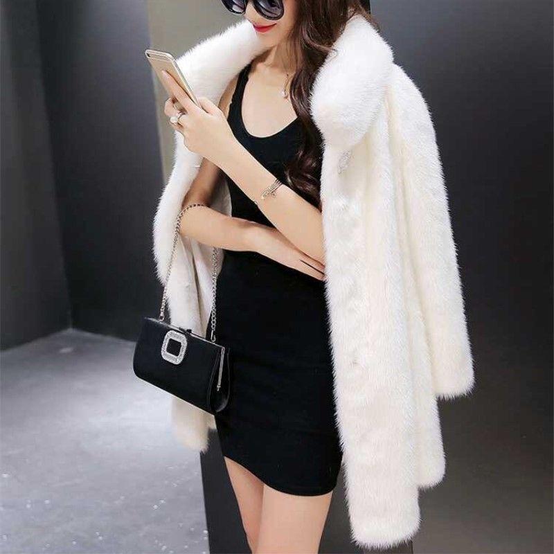 Women's Outwear Long Faux Fur Coat Soft Overcoat Winter Loose Coat White Ths01