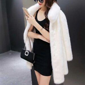 Outwear Black Real E1 Loose Fur Overcoat Coat White Langt Kvinders Soft Winter HqfgvwZqxd