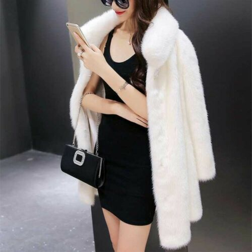 Black Kvinder Outwear Fur Vinter Fox Lange White Frakke Loose Soft Faux Overcoat Z6fSg