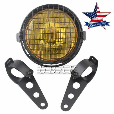 "6.3/"" Grill Motorcycle Side Mount Headlight with Two Brackets Cafe Racer Bobber"