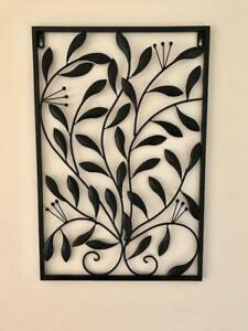 Handmade Iron Metal Wall Art Decor Mural Olive Leaves 60x40x1cm Blk