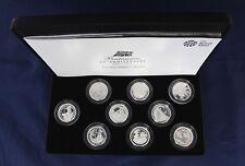 """2012 Silver Proof Britannia £1 coin x 9 """"25th Anniversary"""" Case with COA  (A3/1)"""