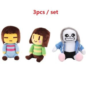 3PC-Set-Undertale-Frisk-Chara-Sans-Plush-Doll-Figure-Stuffed-Toy-8-034-Kid-Gift