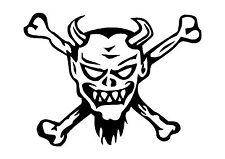 The Rebel Pirate Skull and Cross Bones Sticker Decal Graphic Crossbones Devil V2