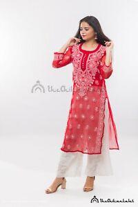 Cotton Straight kurta And Pants Lucknow chikankari Hand embroidery Ethnic Wear Indian style kurti