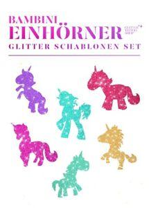 Glitzer-Tattoo-Schablonenset-Bambini-Einhoerner-Set-6-fuer-Kinder-GlitterTattoo