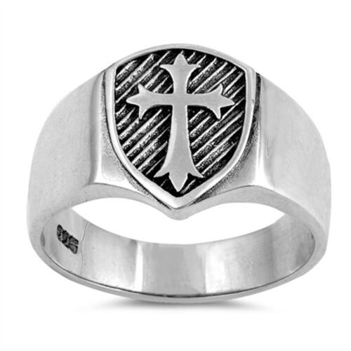 Homme Solide Bouclier Medieval Cross Band .925 Sterling Silver Ring