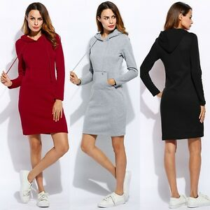 Women-Slim-Hooded-Blouse-Ladies-Long-Sleeve-Solid-Pencil-Hoodie-Dress-Top-Casual