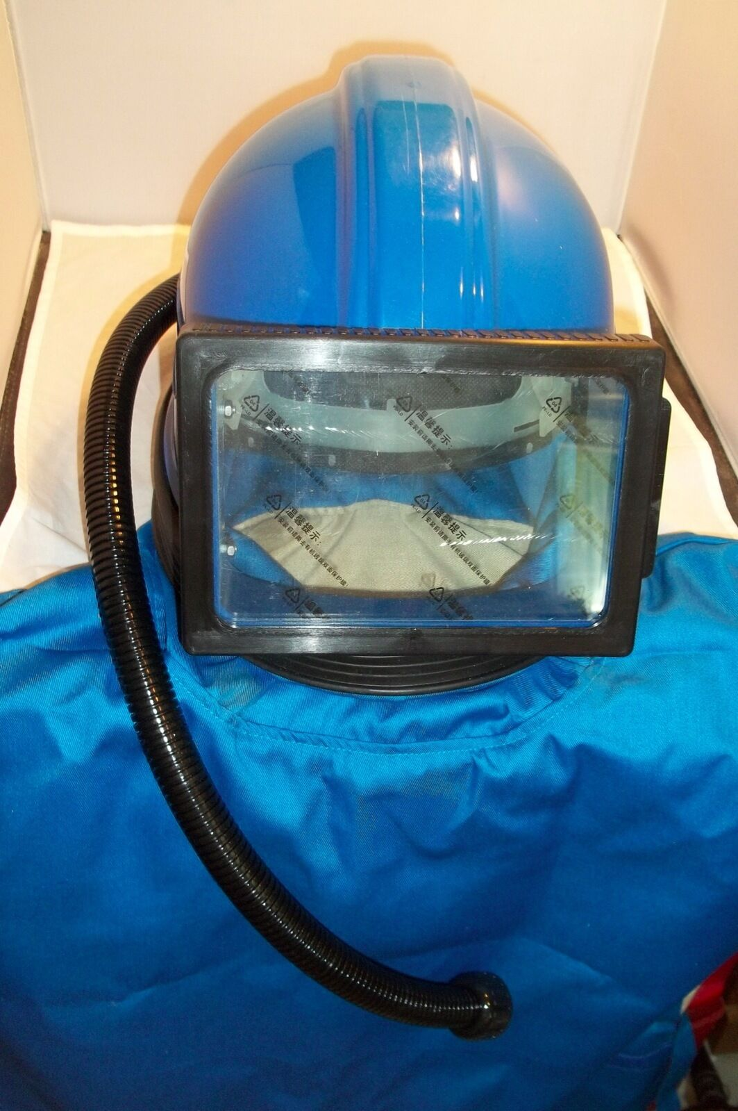 SANDBLASTING RESPIRATOR SAFETY HELMET WITH CAPE HOSE AIR SUPPLIED NEW DESIGN
