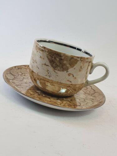 Teeservice Porzellan 12 Personen ausgefallenes Dekor irisierend Sielberrand
