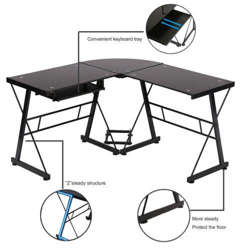 Black L Shaped Office Desk Sturdy Computer Glass Corner Desk With Keyboard Tray