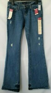 Aeropostale-Women-039-s-Authentic-Flare-Distressed-Jeans-Size-3-4-L-Medium-Wash-New